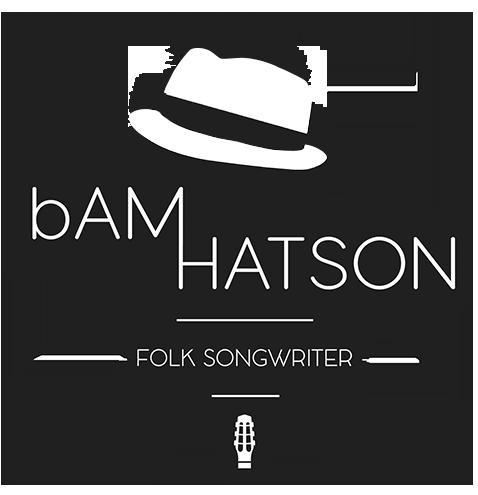 Logo de bAM Hatson, folk songwriter, avec chapeau et tête de guitare acoustique